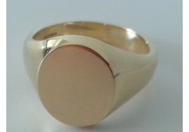 9ct classic oxford large oval signet ring, 17mm x 15mm head, 17.5 grams in weight