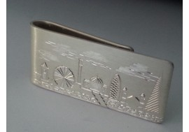 """London scene""  1oz hallmarked silver money clip,  any city or town can be engraved at your request"