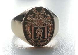 "The "" Du Preez"" 9ct gold Family crest Ring, Executed by The Master Hand Engraver"