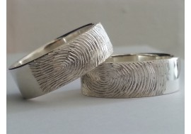 Hand made & hand engraved fingerprint rings, Fully hallmarked , made to size with your fingerprint