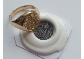"9ct classic ""full coat of arms"" in reverse with wax impression"
