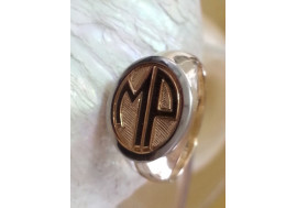 """Hand engraved with crosshatched back ground  """"deco monogram"""" classic Signet ring"""