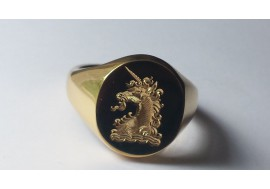 "The Classic ""Oxford Royal Unicorn"" family crest signet ring, available in all sizes, 9ct,14ct ,18ct, palladium and platinum"