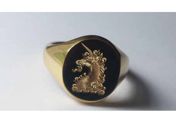 the classic  u0026quot oxford royal unicorn u0026quot  family crest signet ring  available in all sizes  9ct 14ct