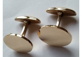 9ct hallmarked gold cufflinks, 20mm x 13mm ovals, torpedo swivel backs, 1.5mm thick