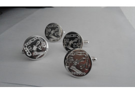 White gold hand made cuff links with your hand engraved family crest