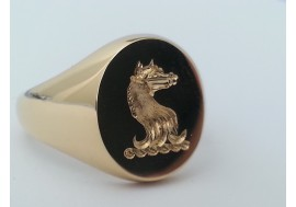 "The ""Brereton"" Family crest signet ring available in platinum, 18ct, 9ct, palladium and hallmarked sterling silver"