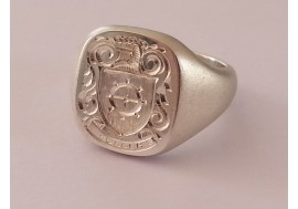 1oz Hallmarked Sterling Silver Classic Cushion Shaped Signet Ring
