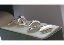 "Hallmarked sterling  silver designer ""JOCKEY"" / plain oval cufflinks, 14 grams in weight"